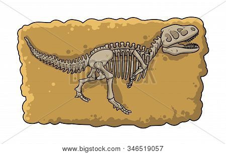 Dinosaur Fossil Skeleton In The Soil, Archeological Excavation Element Cartoon Style. Flat Vector Il