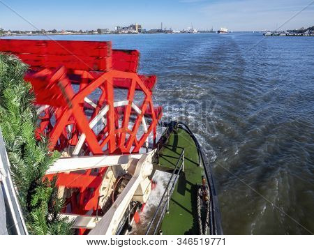New Orleans, Usa - Dec 11, 2017: The Red Wooden Paddle-wheel Of The Historic Steamboat Natchez. The