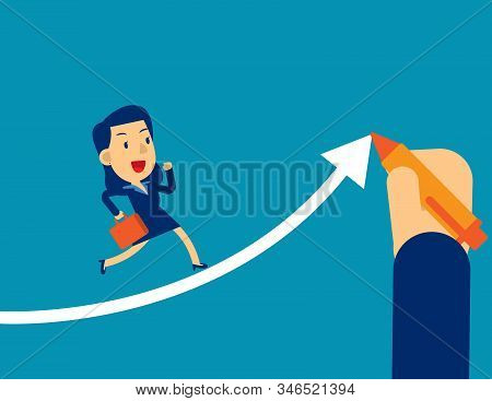 Helps Businesswoman Executives To Succeed. Concept Business Office Vector Illustration, Hand Drawn A