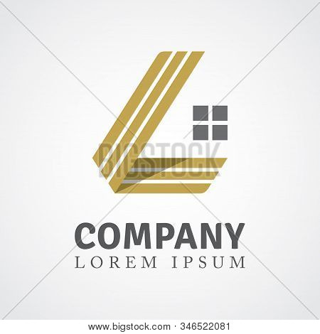 Golden Ribbon L Shape And Window. Can Be Used For Realty Estate, Apartment, Residential Property Or