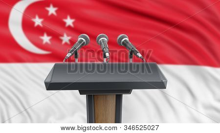 3d Illustration. Podium Lectern With Microphones And Singapore Flag In Background