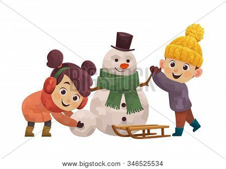 Winter Fun Cute Children Building Snowman And Smiling Vector
