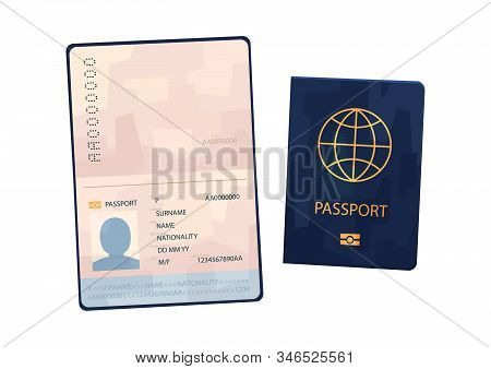 Vector Blue Passport In Cartoon Style On White Background