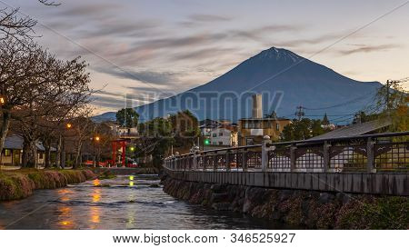 Morning Time Of Fuji Mountain With Long Exposure Of Water Near The River In Shinto Shrine At Fujinom