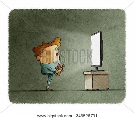 Hypnotized Boy Is Staring At A Television. Addiction Concept