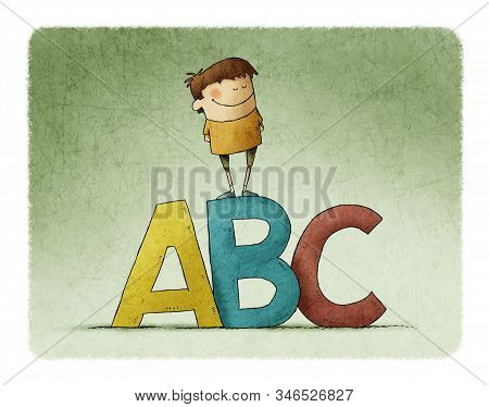 Learning Letters In Childhood. Very Colorful Illustration Of A Boy Climbed On Top Of Some Big Letter