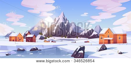 Winter Mountain Landscape With Houses Or Chalet. Ski Resort Settlement With Spruce Trees And Snowy P