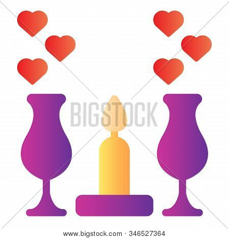 Romantic Dinner Candles Flat Icon. Dinner With Glasses And Candlelight Illustration Isolated On Whit
