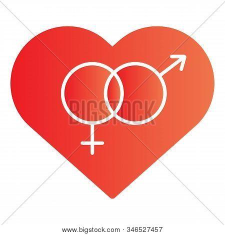 Heterosexual Symbol In Heart Flat Icon. Romantic Hetero Heart Symbol Illustration Isolated On White.