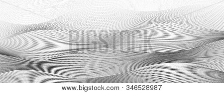 Black Dotted Squiggle Lines With Gradient. Digital Halftone Pattern. Abstract Technology Background,