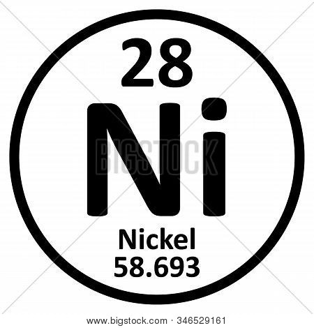 Periodic Table Element Nickel Icon On White Background. Vector Illustration.