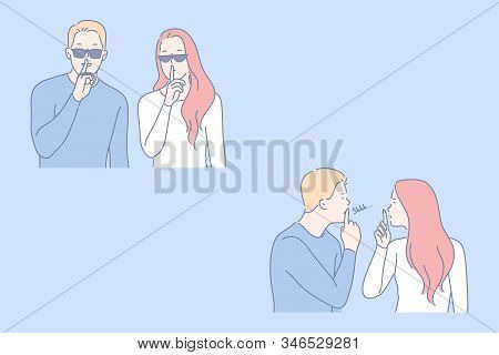 Secret, Security, Confidentiality Set Concept. Young Couple Asks To Keep Confidentiality. Wary Man A