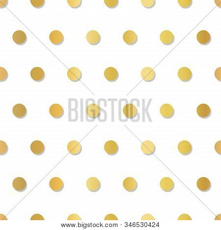 Gold Foil Polka Dots 3d Seamless Vector Pattern. Elegant Metallic Repeating Background With Embossed