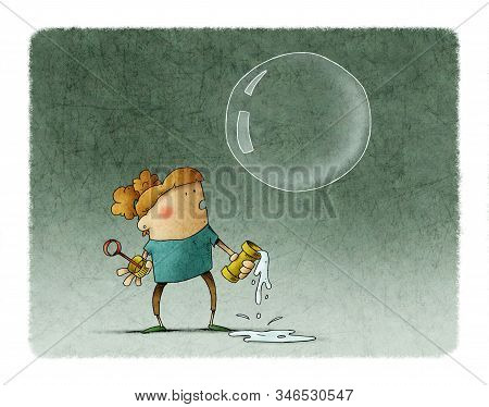 Adorable Girl Looks At Huge Soap Bubble While The Bubble Solution Spills On The Floor.