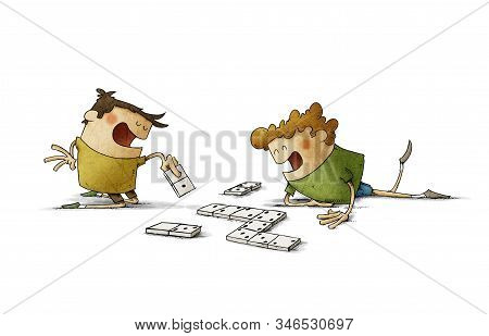 Two Cheerful Children Play Dominoes On The Floor. Isolated