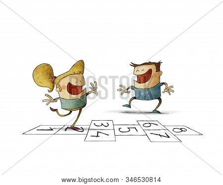 Illustration Of A Boy And A Girl Are Playing Hopscotch