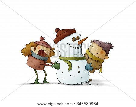 Happy Kids Are Making A Fun Snowman With Hat And Scarf. Isolated