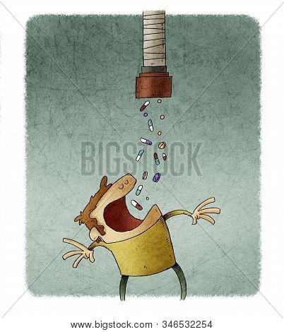 Man With His Mouth Wide Open Swallows Pills That Fall From A Pipe. Addiction Concept.