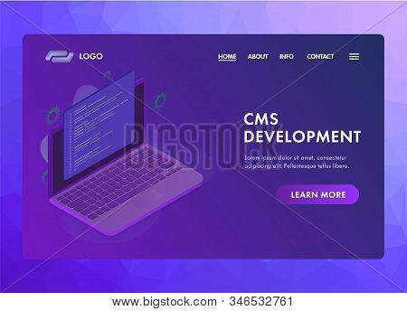 Website Cms (content Management System) Development Ui Ux Web Vector Template Or Landing Page Concep