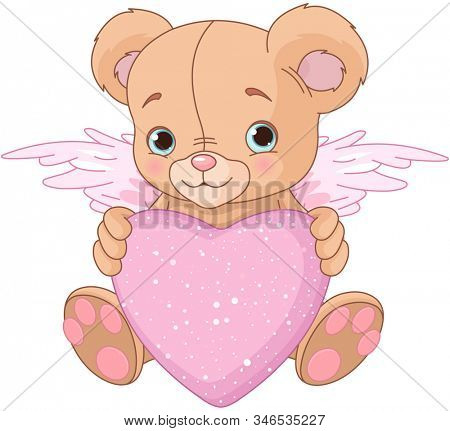 Cute Teddy Bear with pink love heart