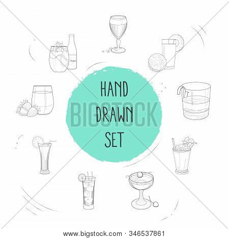 Set Of Drink Icons Line Style Symbols With Fresh Juice, Manhattan Cocktail, Tequila And Other Icons