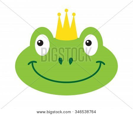 Vector Flat Cartoon Green Princess Frog Face In Crown Isolated On White Background