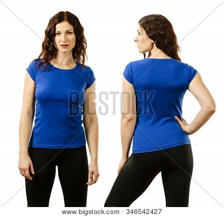 Young Beautiful Redhead Woman With Blank Blue Shirt, Front And Back. Ready For Your Design Or Artwor