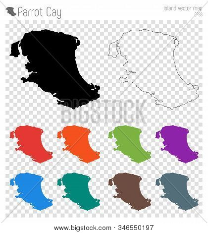 Parrot Cay High Detailed Map. Isolated Black Island Outline. Vector Illustration.