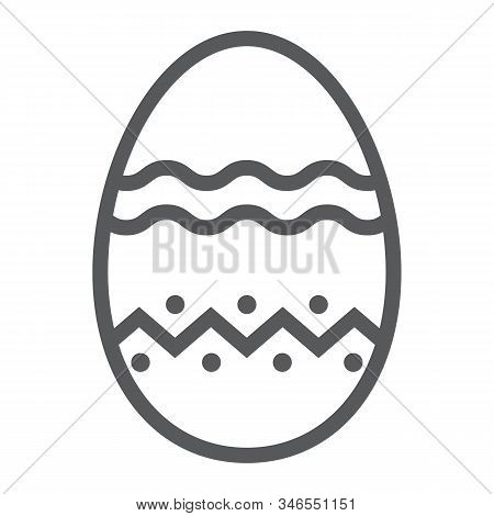 Easter Egg Line Icon, Easter And Holiday, Decoration Egg Sign, Vector Graphics, A Linear Pattern On
