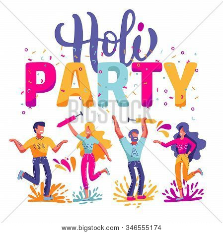 Happy Holi Festival Of Colors Background For Holiday Of India. Vector Flat Illustration With Big Let