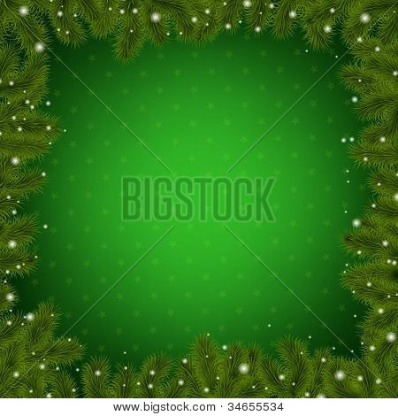 Christmas Border With New Year Tree