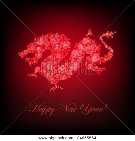New Year Card With Dragon