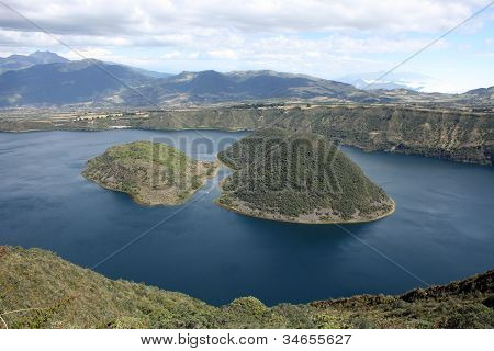 Opening between the islands of Lake Cuicocha