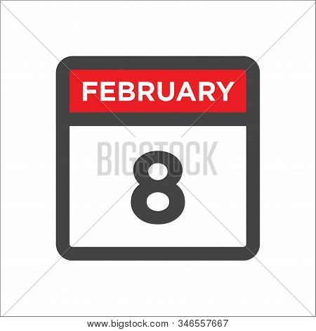 February 8 Calendar Icon With Day And Month