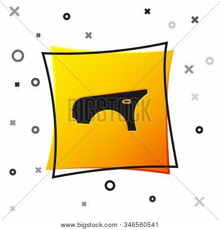 Black Car Fender Icon Isolated On White Background. Yellow Square Button. Vector Illustration