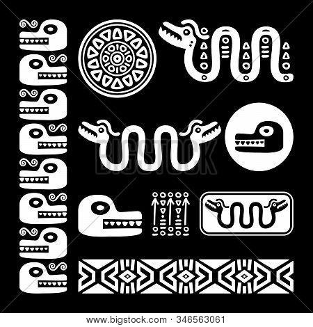 Abstract Maya And Aztec Art Animals And Symbols, Retro Patterns Set Inspired By Mayan Decorations