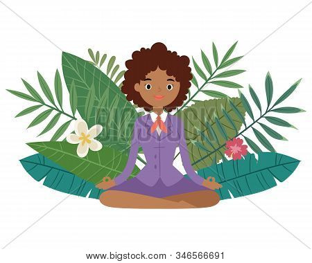 Business Woman Meditation, Keep Calm And Relax Spiritual Zen Balance Lotus Yoga Vector Illustration.