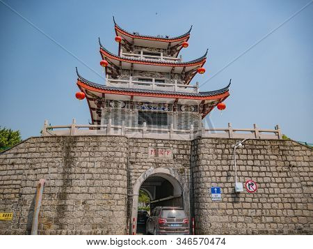 Chaozhou/china-02 April 2018:anceint City Tower Gate Near Ancient Old Town In Chaozhou City China.an
