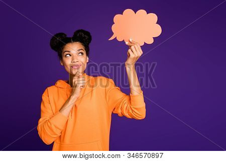 Photo Of Casual Positive Cute Nice Pretty Sweet Woman Touching Her Chi N Thinking On Her Opinion In
