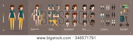 Casual Clothes Style. Girl Cartoon Character For Animation. Default Body Parts Poses With Face Emoti
