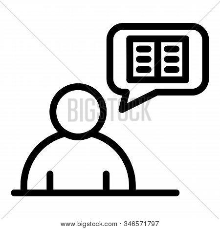 Storyteller Thinking Icon. Outline Storyteller Thinking Vector Icon For Web Design Isolated On White