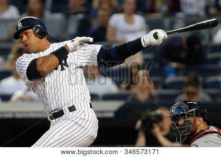 BRONX, NY - APR 16: New York Yankees third baseman Alex Rodriguez (13) gets an infield single during the first inning against the Minnesota Twins on April 16, 2012 at Yankee Stadium.