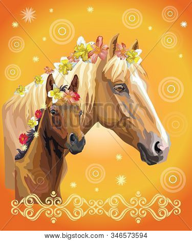Mare And Foal Vector Colorful Realistic Illustration. Portrait Of Horses With Different Flowers In M