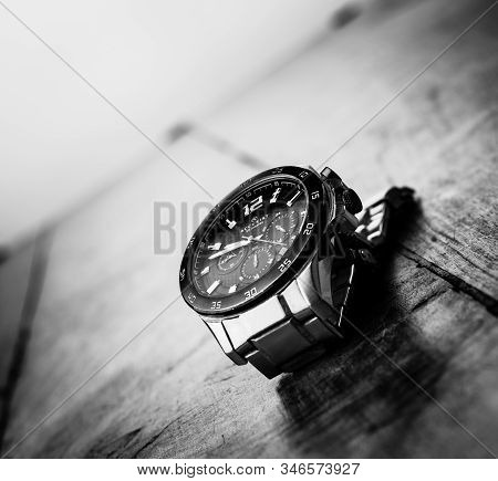 Alloa, Scotland - 17 July 2019 - Classic Watch Isolated On A Dark Background. Accurist Man Watch