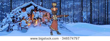Cartoon Smiling Man Standing By Snowy Hut In The Winter Forest