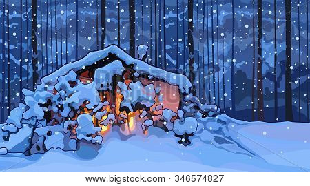 Cartoon Snowy Hut Illuminated From The Inside In The Evening In The Forest. Vector Image