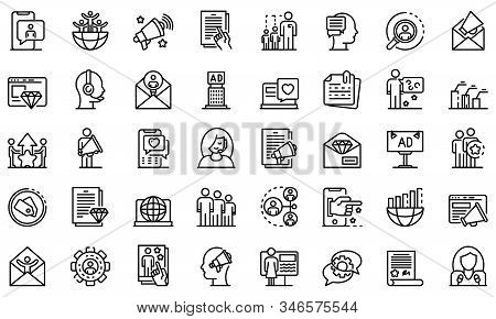 Pr Specialist Icons Set. Outline Set Of Pr Specialist Vector Icons For Web Design Isolated On White