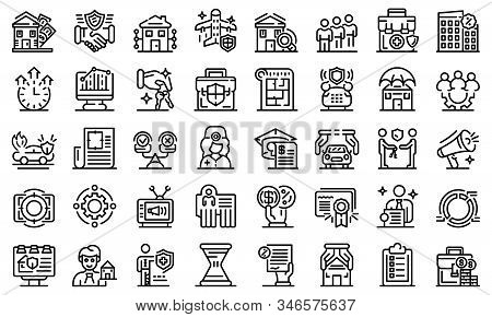 Advertising Agent Icons Set. Outline Set Of Advertising Agent Vector Icons For Web Design Isolated O