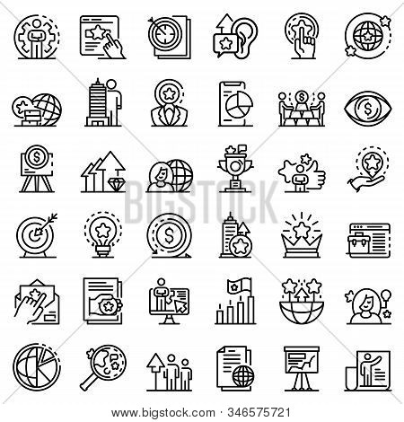 Brand Manager Icons Set. Outline Set Of Brand Manager Vector Icons For Web Design Isolated On White