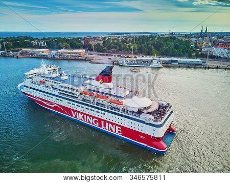 Helsinki, Finland - June 23, 2019: Aerial View Of Viking Line Ferry Boat Gabriella Leaving Port In H